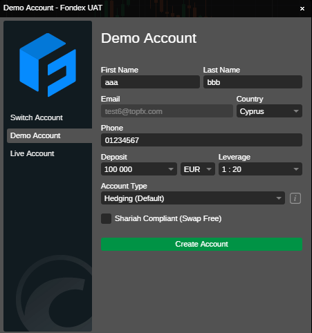 demo account screenshot